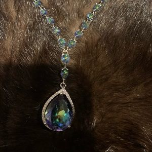 Fire Rainbow Topaz set in sterling necklace